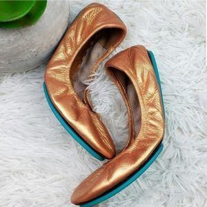 Tieks 5 Rose Gold Custom Foil Copper Leather Flats